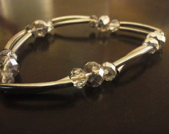 vintage bead silver stretch bracelet
