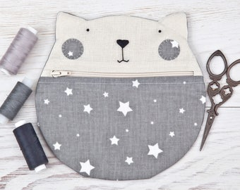 Cosmetics Bag, School Supplies, Pencil Case, Cat Lover Gift, Round Makeup Bag, Cat Purse, Gift for Girlfriend, Makeup Organizers, Gray Bag