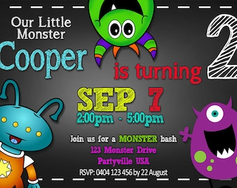 Monster Theme Birthday Invitation - Monster Birthday - 4x6 or 5x7 size - You Print and SAVE