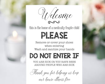 Wash Your Hands Sign, Medically Fragile Sign, Please wash your hands, Instant Download, You Print, Preemie Wash Hands Sign, Front Door Sign