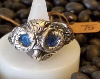 Owl spirit- bright blue cz eyes