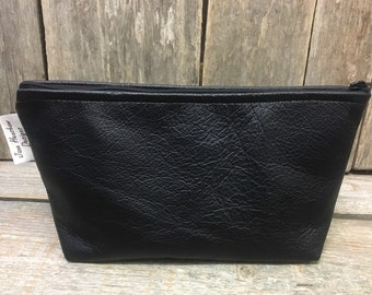 Black Leather cosmetic bag,Leather makeup bag,Leather clutch,black leather case,Leather toiletries case,Leather pouch,Leather pencil case