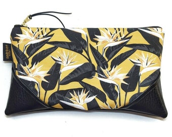 Large Mustard Bold Bird of Paradise Zipper Pouch / Clutch with inside lining and Zipper Pull or Leather Wristlet Strap