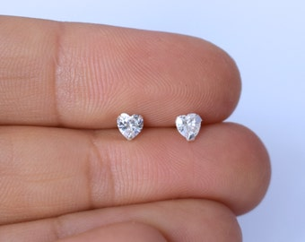 CZ stone HEART 4mm or 6mm sterling silver stud earrings, pair of studs