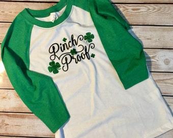 St Patrick's Patty's Day Pinch Proof Toddler Cute Child's Kid Baseball Tee Shirt Glitter Bling