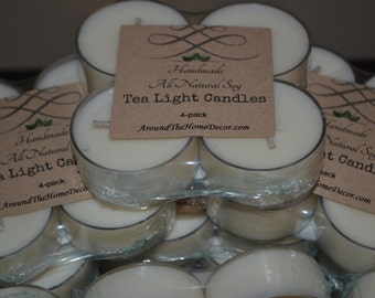 4 All natural Vegan Soy Tea Light Candles Scented or Unscented 6+ hour burn time. Pack of 4 Tealight Candles. Cruelty-Free