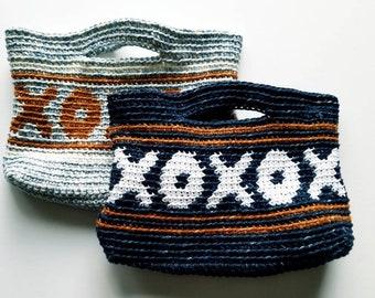 Denim XOXO bag, denim XOXO tote