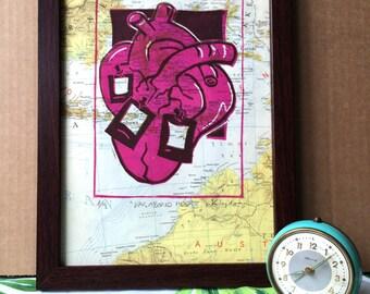 limited linocut - Vagabond Heart - linocut on vintage world map (Indonesia, Bali)