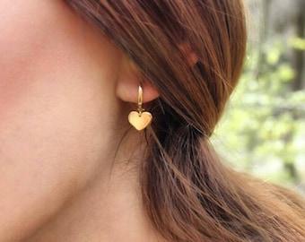 14K Gold Heart Earrings/Hand-made Gold Heart Earrings / Gold Earrings Available in 14k Gold, White Gold or Rose Gold