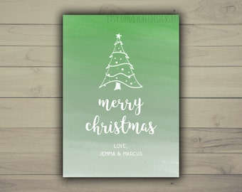 Printable Merry Christmas Card Template 5x7 | Editable Holiday Watercolor Ombre Photo Card | Photoshop template PSD | INSTANT DOWNLOAD
