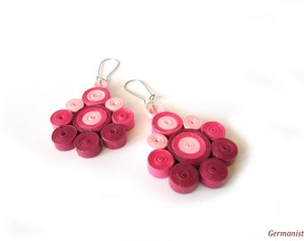 Ombre Pink Paper Earrings, Dangle Quilled Earrings, Statement Paper Quilling Jewelry, DIY paper jewelry, quilled jewelry