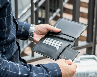 Minimalist Travel Wallet - Holds Passport, Credit Cards, Boarding Pass, Cash in Black Napa Genuine Leather - Comes w/ Free Card Holder