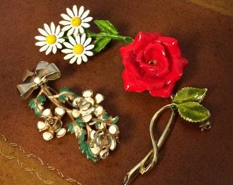 3 Vintage Enamel Flower Pins, Brooches