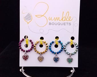 Wine glass marker - Sparkle heart charms