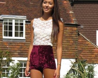 Wine red crushed velvet shorts high waisted hot pants