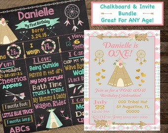 tribal chalkboard, tribal invite, tribal invitation, tribal birthday party, aztec invite, pow wow, teepee, first birthday, second, third, 4