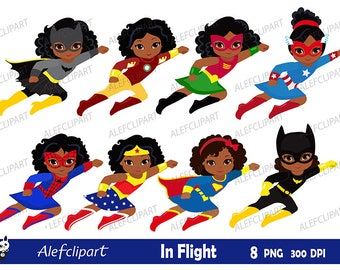 Girls African American in flight. Girls dressed in superhero costume. Instant Download.