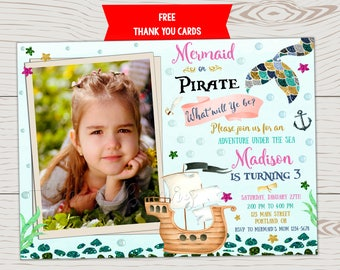 Photo Mermaid and pirate invitation Mermaid pirate invitation Pirate and mermaid birthday invitation Under the sea Boy and girl Pirate party