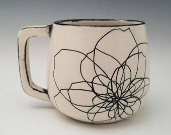 Handmade Flower Mug, Pretty Porcelain Mug, Peony Pattern Pottery Cup, Black and White, 12 oz mug