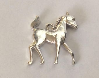 Sterling silver pony horse charm vintage # S 766