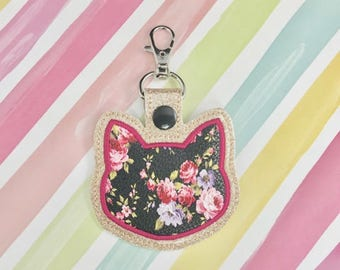 3 Cat Applique Set Snap Tab Embroidery Digital File Instant Download key fob, machine embroidery design, in the hoop