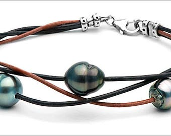 Bracelet 3 9-10 mm leather links intertwined Baroque Tahitian pearls