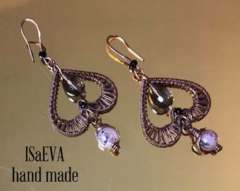 Earrings with Rauch Topaz and Quartz