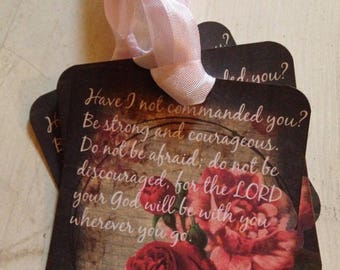 Gift Tags Christian Scripture Inspirational Gift Tag Beautiful Roses and Seam Binding Set of 4