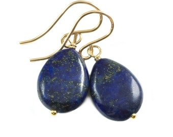 Blue Lapis Lazuli Earrings Natural Dainty Smooth Teardrop Drop Sterling Silver or 14k Gold Filled Dainty Drops Everyday Wear Pyrite Flecks