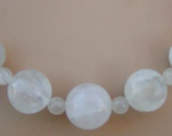 Graduated Rainbow Moonstone Sterling necklace