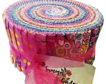 "SALE Fabric Benartex Summer Garden Pinwheel 2.5"" Precut Fabric Quilting Cotton Strips Jelly Roll"