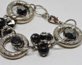 Silver and black tone bracelet