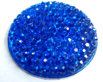 Round cabochon resin 25mm blue faceted