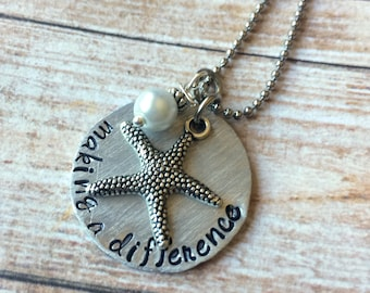 Teacher Gift - Making A Difference Necklace - Starfish Poem - Starfish Charm  - Therapist Gift - Thank You Gift - Personlized Gift For Women