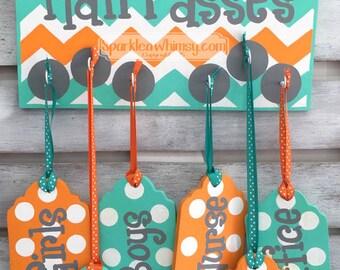 Hall Passes Sign for Classroom: Classroom decor, teacher gift, class office pass, bathroom pass Teacher name sign (tangerine, seabreeze)