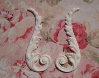 Shabby & Chic Acanthus Scroll Sides Pair Furniture Applique Architectural Onlay Embellishment
