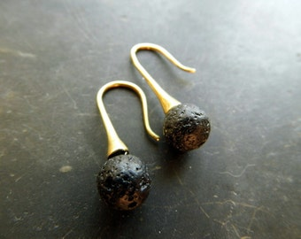 Earring, lava, silver, sterling silver, gilded, black, jewelry, pierced earrings