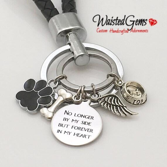 No Longer by my side Custom Charm Keychain, Key Chains, Animal Keychain, Dog owner gifts Gift zmw9.15