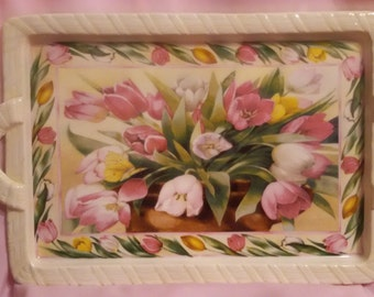 Ceramic Floral Tray with Basket of Tulips