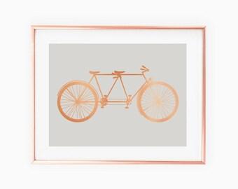Tandem Bike - Copper & Gray Art Print- Instant Digital Download