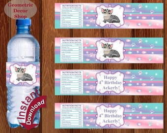 Cat Water Bottle Labels Birthday Cat Birthday Kitten Party pink purple green WLCat1