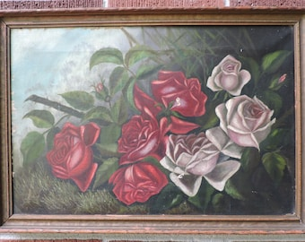 Antique Shabby VICTORIAN Sunday Artist RED ROSES Pink Roses Oil Painting c1880s