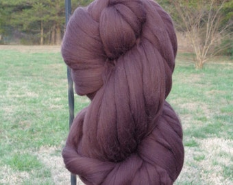 Dark Chocolate Brown Merino Wool Top Roving Fiber Spinning, Felting, Weaving, Knitting, Felting Crafts