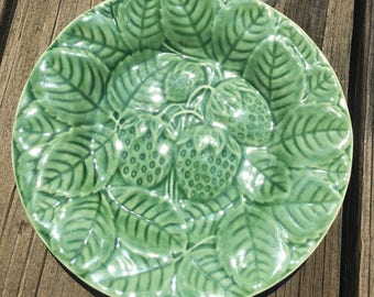 VINTAGE Salad Plate- Green Strawberries and Leaves- Made in Portugal- Majolica