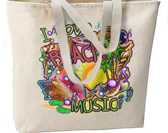 I Love Beach Music Neon New Jumbo Tote Bag, Summer Fun, Travel, Shop, Events