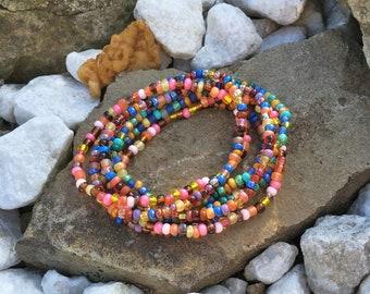 Festival Stack Bracelets, Beaded Stretch Bracelet 7 Stack Set, Bohemian Hippie, colorful Beaded Bracelets, Gypsy bracelets