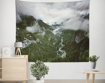 Scenic Yosemite Wall Tapestry, Foggy Valley Tapestry, Cloudy Wall Tapestry, Nature Wall Hanging, Clouds Tapestry, California Tapestries