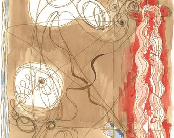 """Digital Serigraph Limited to 10 copies signed by the artist. Title: """"Scarlet Priestess and the sea""""-Measures 48 x 33 cm"""