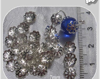 100 BEAD CAPS, FILIGREE METAL SPACER BEADS SILVER CLEAR 7 MM * S26