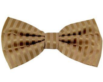 Men's Vertical tone on tone Striped Mocca Brown Pre-Tied Bowtie, for Formal Occasions (625)